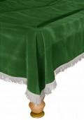 Покрывало для стола 10 ф (бархат, зеленое/серебристая бахрома)