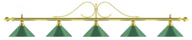 Лампа на пять плафонов «Classic» (витая золотистая штанга, зеленый плафон D35см)