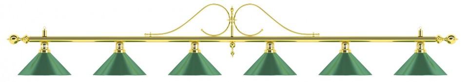 Лампа на шесть плафонов «Classic» (витая золотистая штанга, зеленый плафон D35см)