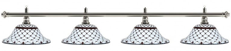 Лампа на четыре плафона «Memory» (серебристая штанга, черно-белый плафон D44см)