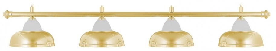 Лампа на четыре плафона «Crown» (золотистая штанга, золотистый плафон D38см)