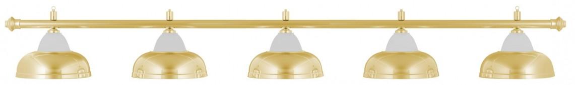 Лампа на пять плафонов «Crown» (золотистая штанга, золотистый плафон D38см)