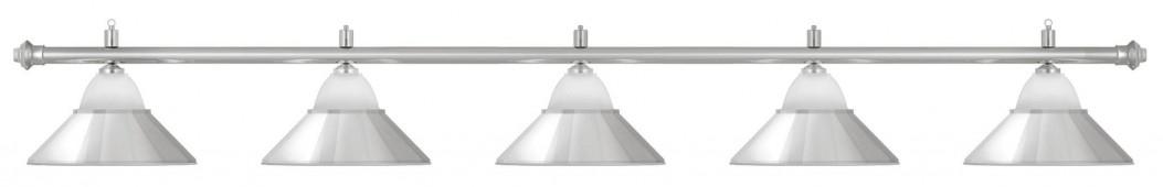 Лампа на пять плафонов «Jazz» (серебристая штанга, серебристый плафон D38см)