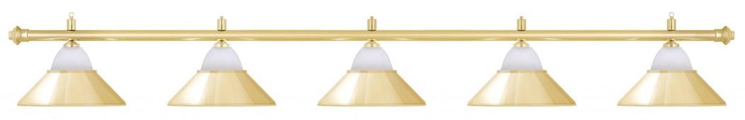 Лампа на пять плафонов «Jazz» (золотистая штанга, золотистый плафон D38см)
