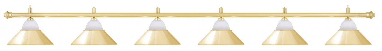 Лампа на шесть плафонов «Jazz» (золотистая штанга, золотистый плафон D38см)